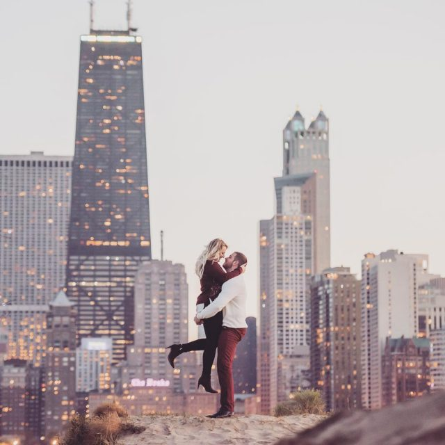 Chicago skyline during sunset with SampU igerschicago visualetiquette engagementsession engagementphotoshellip
